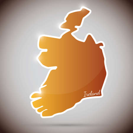 irish map: vintage sticker in form of Ireland