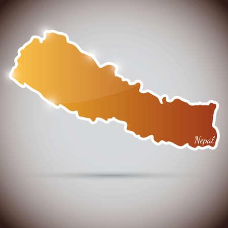 himalaya: vintage sticker in form of Nepal Illustration