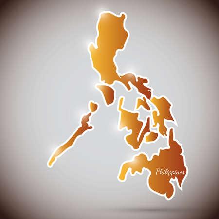 filipino: vintage sticker in form of Philippines Illustration