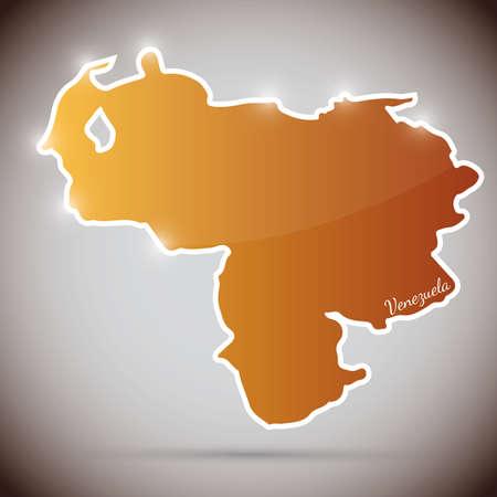 venezuelan: etiqueta de la vendimia en forma de Venezuela