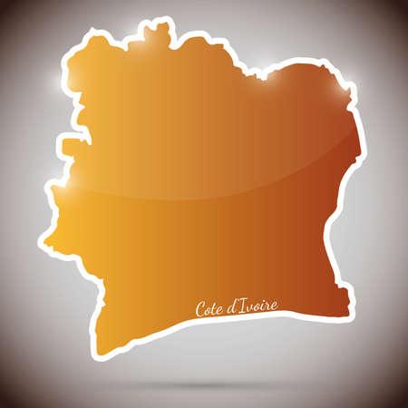 ivory: vintage sticker in form of Ivory Coast Illustration