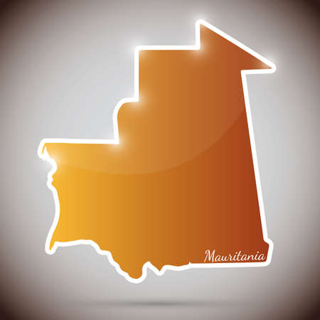 mauritania: vintage sticker in form of Mauritania