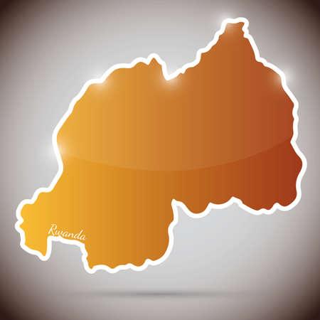 rwanda: vintage sticker in form of Rwanda