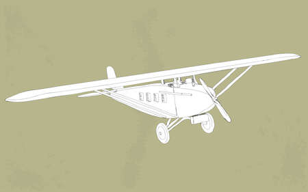 vintage styled illustration of a small plane Vector