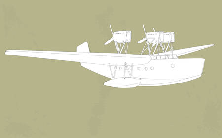 warlike: vintage styled illustration of a seaplane