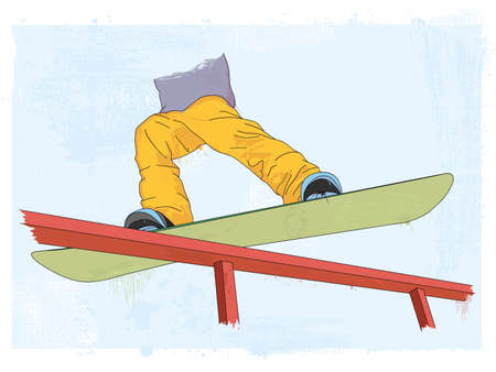 grunge styled snowboarder illustration Illustration