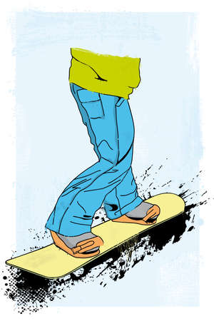 grunge styled snowboarder illustration Stock Vector - 23992017