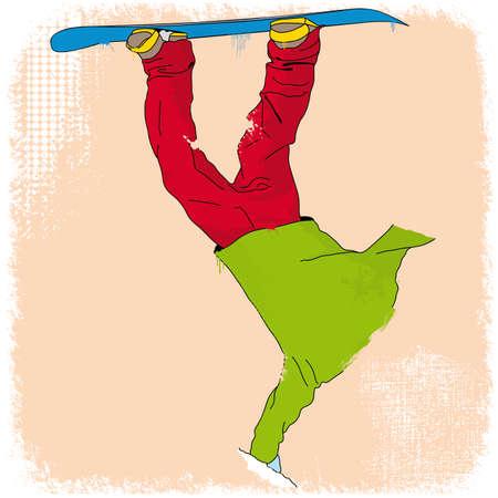 grunge styled snowboarder illustration Stock Vector - 23992018