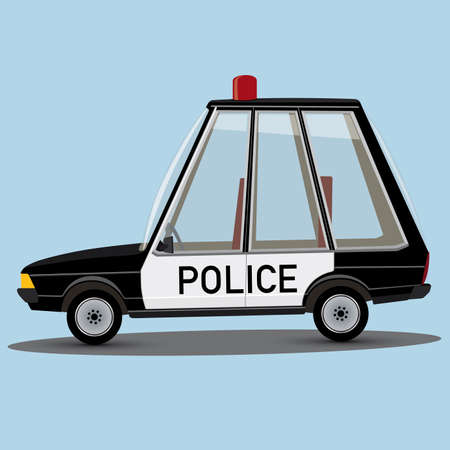 police cartoon: funny cartoon style police car