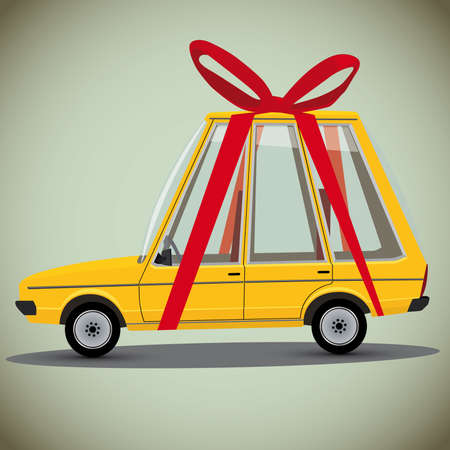 cartoon gift car Vector