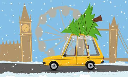 cartoon car with a christmas tree in london Vector