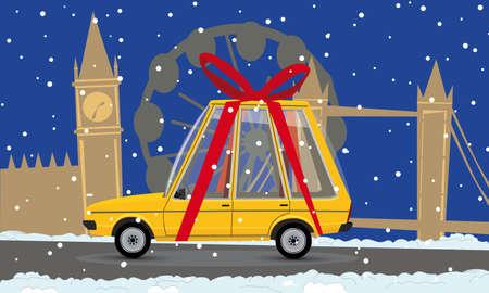 cartoon gift car in london Vector