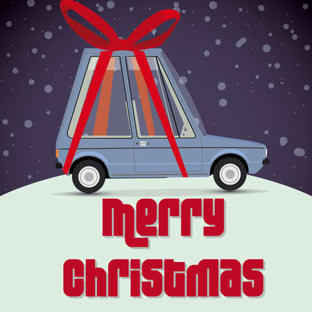 christmas card with gift car  Vector