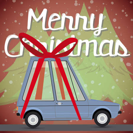 prestige car: christmas card with gift car  Illustration