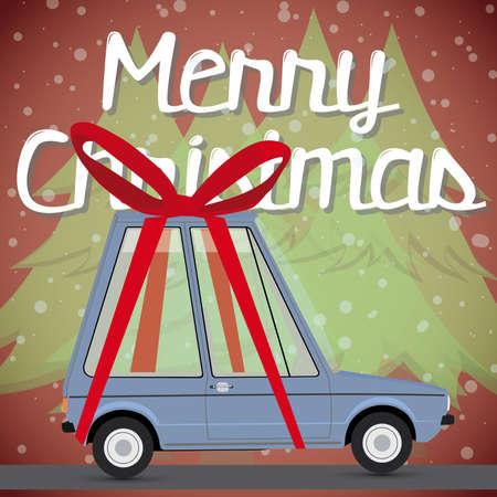 prestige: christmas card with gift car  Illustration