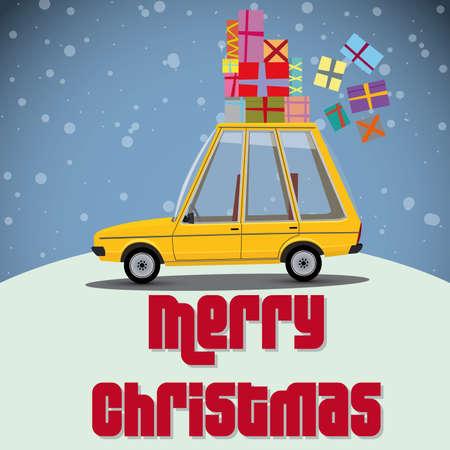 funny car: funny cartoon car with presents