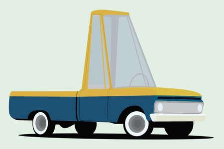 funny cartoon styled pickup truck Vector