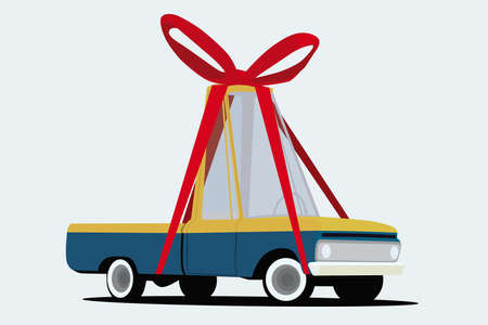 prestige car: funny cartoon pickup truck wraped as a gift