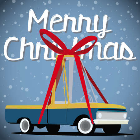christmas card with cartoon pickup truck Vector