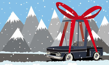 cartoon pickup truck in the mountains  Vector