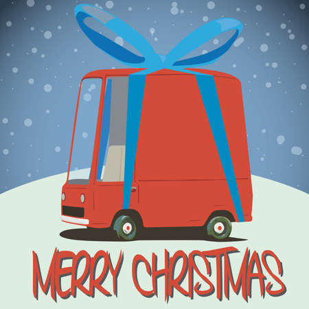 christmas card with cartoon minivan Vector