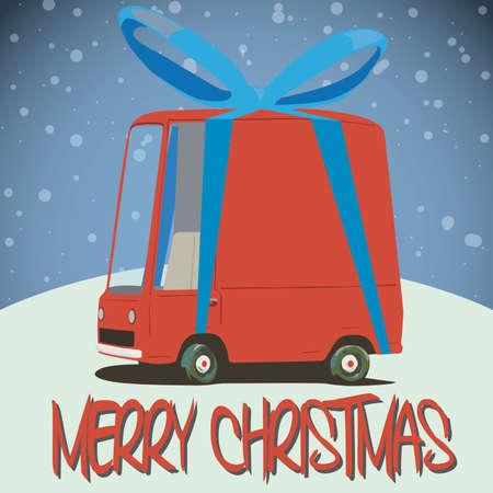 minivan: christmas card with cartoon minivan