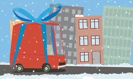cartoon van in the city  Vector