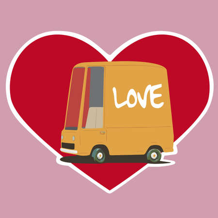 Valentines Day card with a cartoon car Vector