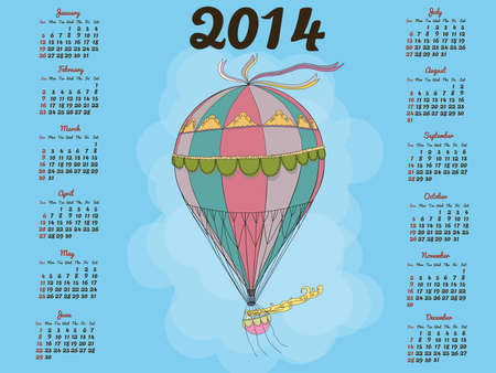 Calendar 2014 with a vintage balloon Vector
