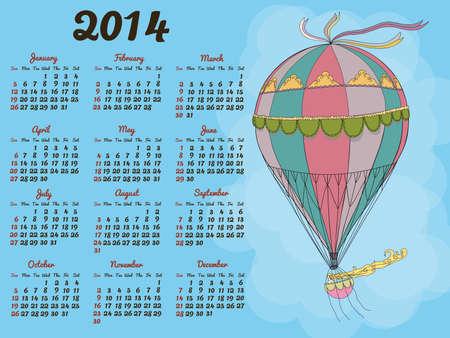 Calendar 2014 with a vintage balloon Vector