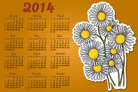 Calendar 2014 with camomile flowers  Vector
