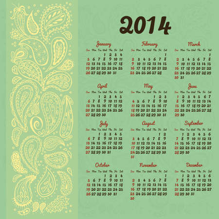 summer solstice: 2014 Calendar with decorative floral elements