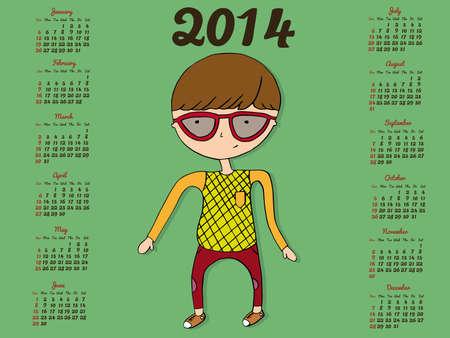 Hipster Calendar 2014 Vector
