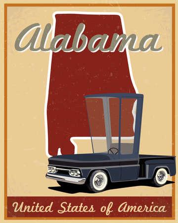 alabama: alabama road trip vintage poster