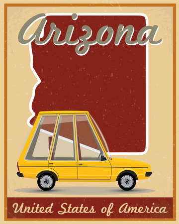 Arizona road trip vintage poster Vector