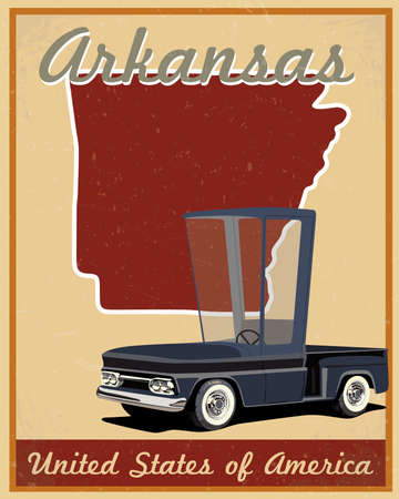 Arkansas road trip vintage poster  Vector