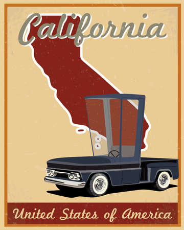 California road trip vintage poster  Vector