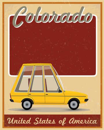 colorado state: Colorado road trip vintage poster  Illustration
