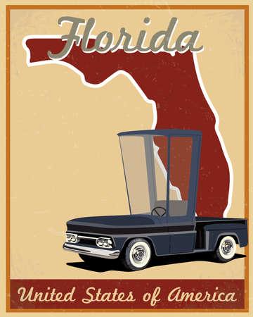 Florida road trip vintage poster   Vector