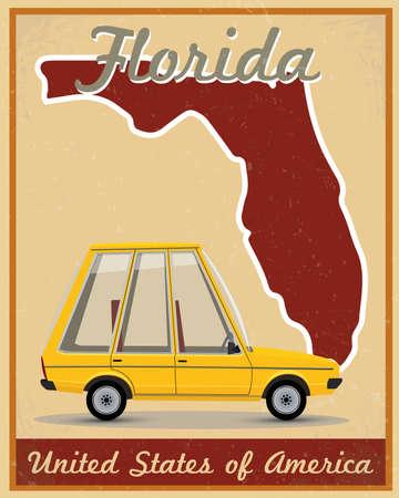 florida: Florida road trip vintage poster