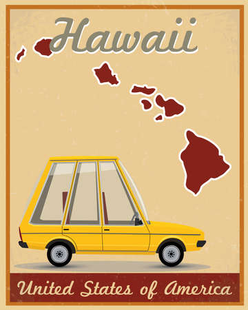 Hawaii road trip vintage poster Vector