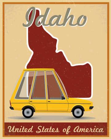 아이다 호 도로 여행 빈티지 포스터 일러스트