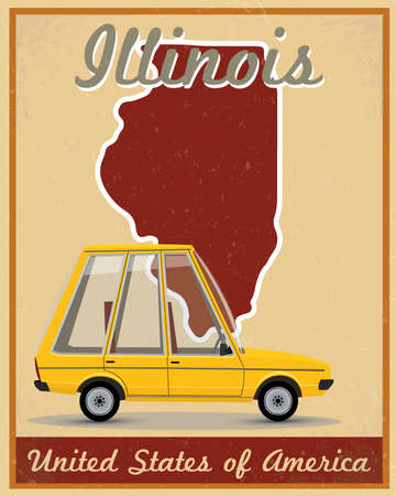 Illinois road trip vintage poster Vector