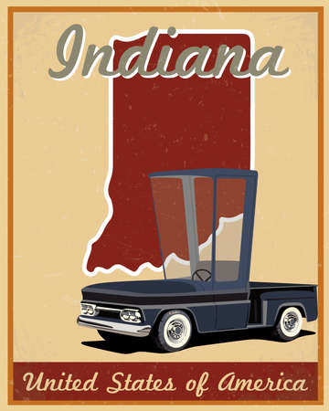 indiana: Indiana road trip vintage poster