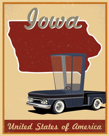Iowa road trip vintage poster Vector