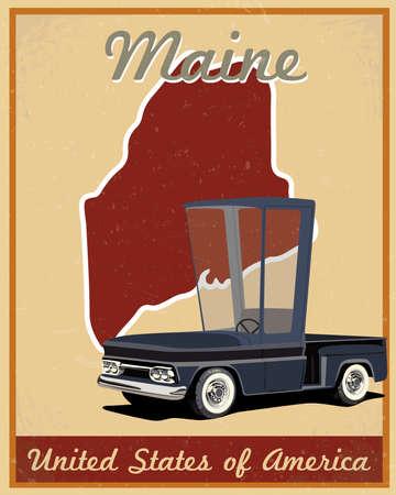 maine: Maine road trip vintage poster