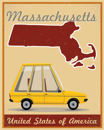 Massachusetts road trip vintage poster Vector