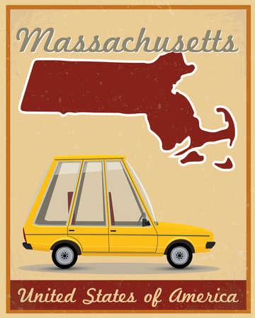 Massachusetts road trip vintage poster