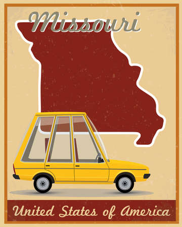 topographic: Missouri road trip vintage poster Illustration