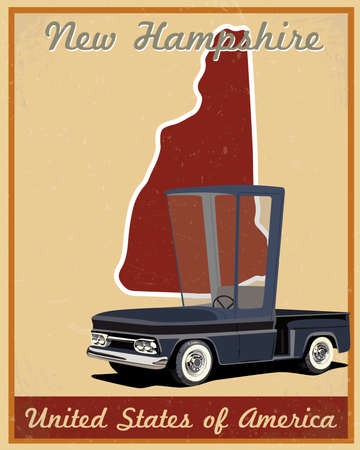 New Hampshire road trip vintage poster Vector